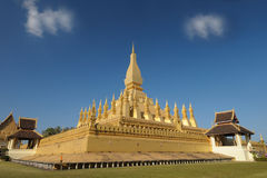 Pha That Luang golden temple architecture, Laos. Royalty Free Stock Images