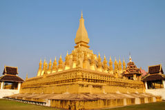 Pha That Luang. Or Great Sacred Stupa is a gold-covered large Buddhist stupa in the centre of Vientiane, Laos Royalty Free Stock Image