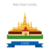 Pha That Luang in Laos vector flat attraction landmarks. Pha That Luang in Laos. Flat cartoon style historic sight showplace attraction web site vector Stock Image