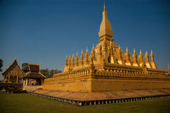 Pha That Luang. National monument and Buddhist religious structure Pha That Luang was ereceted from 1566 on the site of a Khmer Temple Royalty Free Stock Photo