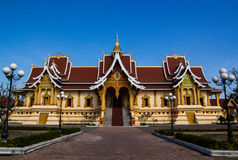 Pha that luang stupa in vientaine,loas.the most important. Royalty Free Stock Images
