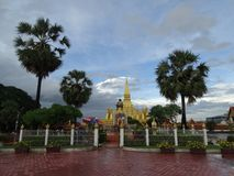 Pha That Luang stupa in Vientiane, Laos. The most important national monument in Laos stock image