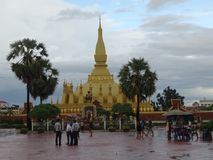 Pha That Luang stupa in Vientiane, Laos. The most important national monument in Laos royalty free stock image