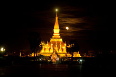 Pha That Luang temple at night in Laos . Royalty Free Stock Photo