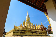 Pha That Luang Vientiane in the corner of the corridor. Stock Photo