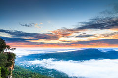 Pha Mo I Daeng Cliff and the sea of mist in the morning Royalty Free Stock Photo