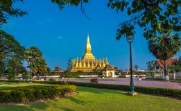 Pha qui Luang, grand Stupa dans Vientine, Laos Photos stock