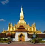 Pha qui stupa de Luang à Vientiane, les Laotiens. Image libre de droits