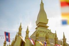 Pha som Luang tempel, den guld- pagoden i VIENTIANE, LAOS PDR Den mest berömda gränsmärket av LAOS arkivfoton