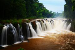 Pha Suam waterfall in Laos Stock Photo