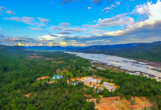 Pha Taem Cliff national park. Aerial photography Pha Taem national park along the Mekong river in Ubon Ratchathani province of Isan Thailand Royalty Free Stock Photography