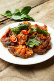 Phad Phed Pla Duk Thod Krob (Stir fried Deep fried Catfish with Royalty Free Stock Photo