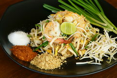 Phad Thai, Thai Food. Phad Thai Kung, Thai stir-fried noodles with shrimp, a national dish of Thailand royalty free stock photography