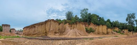 Phae Muang Phi Forest Park panorama, Phrae, Thailand, soil erosi. Phae Muang Phi Forest Park, Phrae, Thailand, soil erosion landmark becames the tourism place Royalty Free Stock Images
