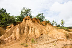 PHAE MUANG PHI, PARK AREA OF SEDIMENT CAUSED BY EROSION IN THAILAND. Phae Muang Phi is a place with original rock formations in the Phi Pan Nam Range, Thailand Stock Photos