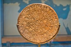 Phaestos disk with unknown script exibited at Heraklion archaeology museum, island of Crete. Greece stock photography
