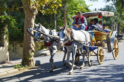 Phaeton Horse Car. Istanbul, Turkey - September 29, 2013: Phaeton Horse Car. Coachman Horse Carriage Ride. Buyukada, Princes Islands, also known as Istanbul is Royalty Free Stock Photography