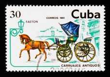 Phaeton, Transport serie, circa 1981. MOSCOW, RUSSIA - AUGUST 29, 2017: A stamp printed in Cuba shows Phaeton, Transport serie, circa 1981 Stock Photo