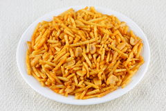 Phalahari Chiwda. Sweet and salty Indian snack with potatoes and nuts stock image