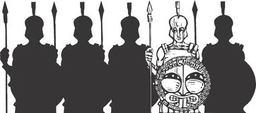 Phalanx. A phalanx of grecian helot soldiers with spears Royalty Free Stock Image