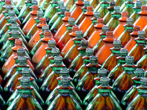 Phalanx of Bottles. Many bottles collected together just like one regular phalanx Stock Photo