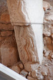 Phallic figures carved on stele. In an outdoor archaeological site of  Gobekli Tepe (Pot-belly Hill) in Southeastern Turkey Royalty Free Stock Photography