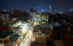 Pham Ngu Lao, backpaper street, in Saigon at night from a rooftop. Ho-Chi-Minh-City at night. Royalty Free Stock Photo