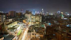 Pham Ngu Lao, backpaper street, in Saigon at night from a rooftop. Ho-Chi-Minh-City at night. Stock Image