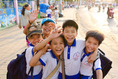 Happy Vietnamese boys stock photo