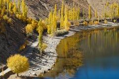 Phander sjö, Ghizer, Pakistan Royaltyfri Fotografi