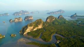 Phang Nga海湾鸟瞰图  库存图片