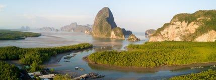 Phang Nga海湾Paronamic鸟瞰图  免版税库存图片
