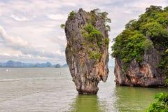 Phang Nga海湾,詹姆斯庞德海岛,泰国 免版税库存照片