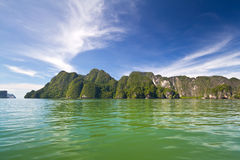 Phang Nga Bay from the boat. Amazing scenery of National Park in Phang Nga Bay, Thailand Royalty Free Stock Images