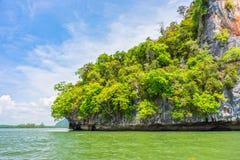 Phang Nga bay and mountain view with blue sky Royalty Free Stock Photos
