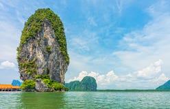 Phang Nga bay and mountain view with blue sky Royalty Free Stock Image