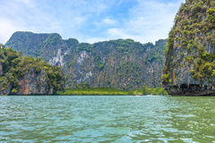 Phang Nga bay and mountain view with blue sky Stock Image