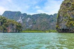 Phang Nga bay and mountain view with blue sky. The bay is in Phang Nga national park of Thailand Stock Image