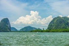 Phang Nga bay and mountain view with dramatic cloud and blue sky Stock Photography