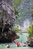 PHANG NGA BAY, THAILAND - CIRCA SEPTEMBER 2015: Tourist kayaking tours in Phang Nga Bay of Andaman sea,  Thailand Royalty Free Stock Photo