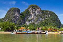 Phang Nga Bay trip in Thailand. Amazing scenery of National Park in Phang Nga Bay, Thailand Royalty Free Stock Photos