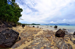 The Phang Nga Bay from Yao Noi island. The Phang Nga Bay from the Pa Sai beach at low tide on Yao Noi island, or Koh Yao Noi, in the Andaman Sea, Thailand Stock Photography