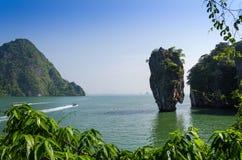 Phang Nga海湾, Tapu海岛在泰国 免版税库存照片