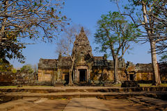 Phanom Rung Castle. Old stone castle in the sky is clear Royalty Free Stock Photo