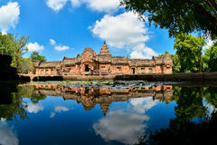 Phanom Rung Historical Park. Located in the district of Honor Buriram, Thailand is pink stone castle on the hill fires extinct Royalty Free Stock Image