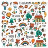 phantasie erforschung studie Spiel learn kindergarten Kinder Familie mit Großvater, Großmutter, Vater, Mutter, Sohn, daugther und stock abbildung