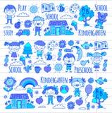 phantasie erforschung studie Spiel learn kindergarten Kinder Familie mit Großvater, Großmutter, Vater, Mutter, Sohn, daugther und vektor abbildung