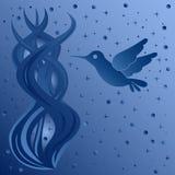 Phantasmagoric composition with bird on starry sky Stock Image