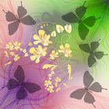 Phantasy background with butterflies silhouettes and flower Royalty Free Stock Image