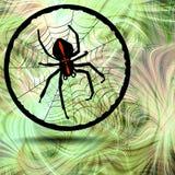 Phantasy image Crusader spider in his cobweb on fractal background. Phantasy image Crusader spider in his cobweb in circle element on fractal background Royalty Free Stock Photos